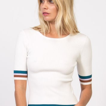 Striped Short Sleeve Ribbed Top