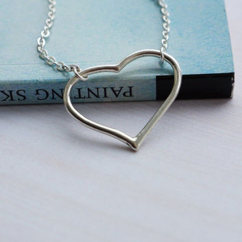 Silver Heart necklace. Short Heart necklace Heart Pendant Simple Heart Necklace. Simple Love Necklace