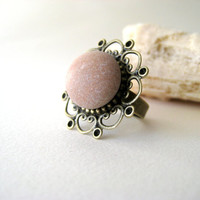 Stone Ring with filigree, pink beach pebble filigree ring