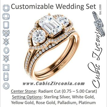 CZ Wedding Set, featuring The Lizabeth engagement ring (Customizable Radiant Cut Enhanced 3-stone Style with Tri-Halos & Thin Pavé Band)