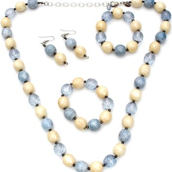 Joan Rivers Blue Agate & Crystal Bead Set
