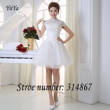 Free shipping 2017 new grils White High Collar Short Sleeves Lace Backless Bridesmaid Dresses Frocks Gowns LF290