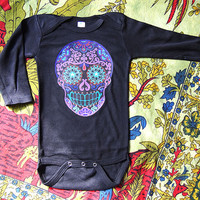 Long Sleeve Black Tattoo Rockabilly baby bodysuit. 0 3 6 12 18 months Day of the Dead Trendy Boy Girl clothes shirt Romper Hipster Creeper.