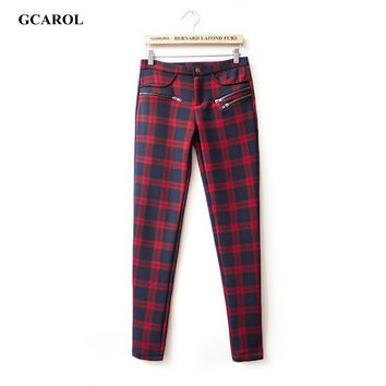 Women British Plaid Slim Pants Vintage OL Elegant Pencil Pants Street Wear Casual Spring Autumn Winter Plus Size 42 Pants