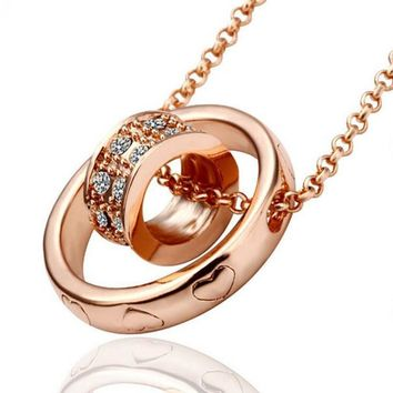 Heart Link Stainless Rose Gold CZ Necklace