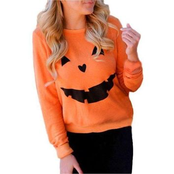 DCCK7XP Pumpkin Long-Sleeved Printing Sweater