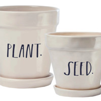 """Rae Dunn Stem Print """"Plant"""" and """"Seed"""" Planters, Set of 2"""