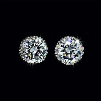 Diamond Earrings, Classic Diamond Earrings, Crown Stud Earrings