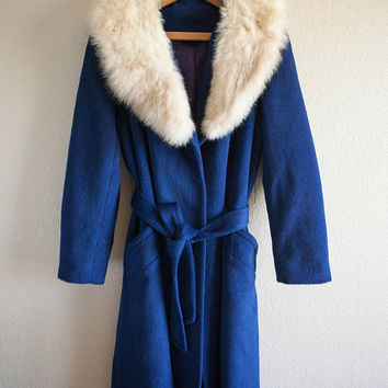 Navy Blue Peacoat with Fur Collar, Faux Fur Collar Women's Trench Jacket, 1940's Baby Doll Peacoat, Navy Blue Princess Coat