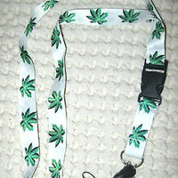 "White with Green MJ Marijuana Weed Leaves 15"" lanyard ID Holder + Mobile Devices"