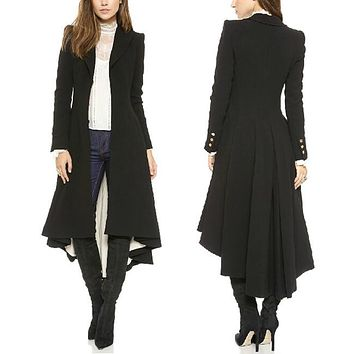 Women Lapel Hi-Lo Hem Tuxedo Back Asymmetric Fit-and-flare Windbreaker Woolen Blazer Trench Coat Outwear