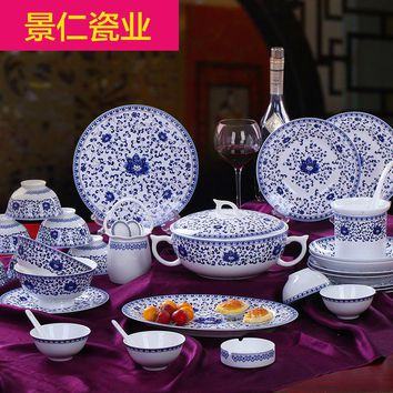 Jing Ren - dishes in Jingdezhen set 60 high-grade ceramic tableware tableware bowl head bone china chinese household