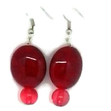 Red Marbled and Round Beaded Earrings