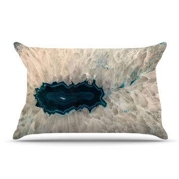 "Sylvia Cook ""Aqua Quartz"" Geological White Pillow Case"
