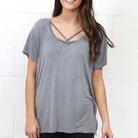 Cross It Mineral Wash Strappy Tee {Ash} EXTENDED SIZES