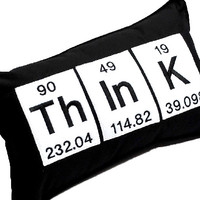 Think Periodic Table of Elements Throw Pillow