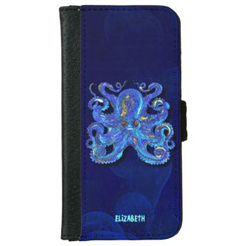 Psychedelic Colorful Blue Octopus With Brown Eyes Wallet Phone Case For iPhone 6/6s