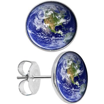 Stainless Steel Post Vivid Earth Orbit Image Round Stud Earrings
