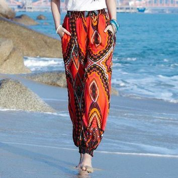 ONETOW Women beach boho pants high waist bohemia bloomers red pant casual printed loose trousers y393