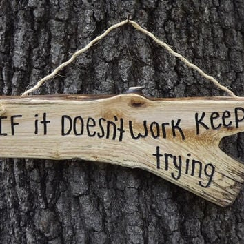 inspirational sign/ keep trying/ door sign/ personalized sign/ office