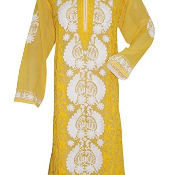 Mogul Indian Tunic Maxi Dress Yellow Floral Embroidered Georgette Dresses XXXXL: Amazon.ca: Clothing & Accessories