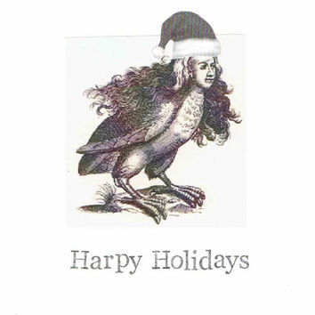 Harpy Holidays Card | Funny Greek Roman Mythology Humor Christmas Gothic Weird Monster Feminist Witch Medieval History Women
