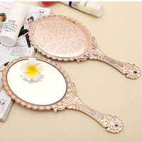 Vintage Makeup Mirror Flower Hand Hold Oval Round Cosmetic Mirror Noble Restore Ancient Style Court Mirrors Beauty Tool 2017