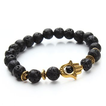 XINYAO Natural Stone Black Lava Beads Bracelet Men Gold Color Hamsa Hand Charm Energy Yoga Mala Bracelets F2830