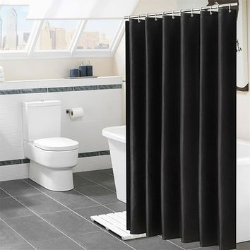 Solid Color Shower Curtain 180CM Waterproof Bathroom Partition Curtain White polyester moisture-proof shower curtain D50