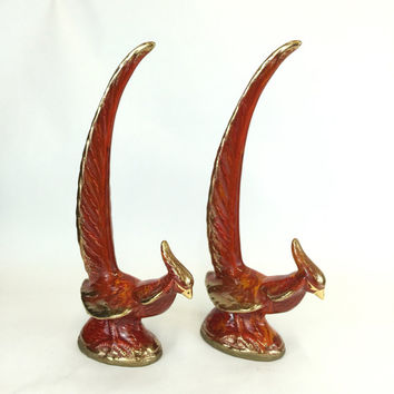 Pheasant Figurines, Pair of Ceramic Pheasants, Orange Drip Glazed Gold, Vintage Decor, Retro Decor, Collectible,  Vintage Bird Statues