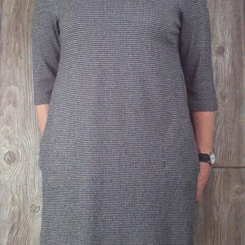Cute J Jill Dress L size Black Gray Ponte Stretch Womens Career Casual Knit Tunic