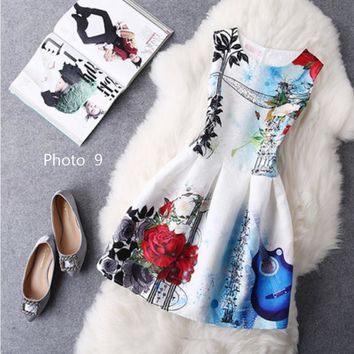 Hot sale sexy show thin sleeveless print dress-1
