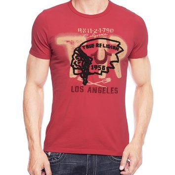 True Religion Mens Flocked Chief 1956 Tee - Scarlet