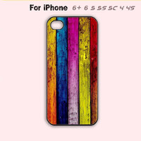 Gorgeous Rainbow Wood Look Style Phone Case For iPhone 6 Plus For iPhone 6 For iPhone 5/5S For iPhone 4/4S For iPhone 5C-5 Colors Available