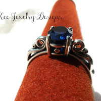 Sapphire gemstone and  Fine silver, Sterling silver gemstone ring. High quality stone.