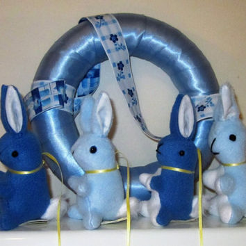 Rabbit Baby Mobile, Blue Fleece Bunnies, Fleece Baby First Gift, Blue Baby Mobile Present for Baby Boy, Baby Shower Gift, Unusual Baby Gift