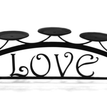 Wrought Iron Love Table Top Center Piece Candle Holder