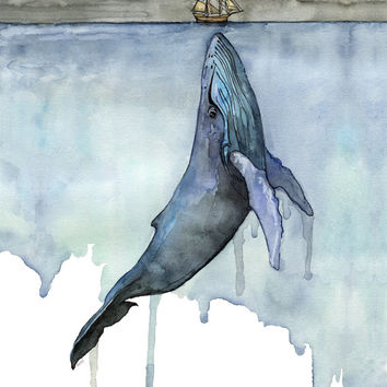 "Watercolor Whale Painting - Print titled, ""Fathoms Below"" Boat, Whale Art, Whale Print, Beach Decor, Whale Nursery, Humpback Whale Painting"