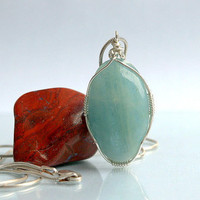 Aquamarine pendant oval shape silver wire wrapped natural crystal with silver necklace