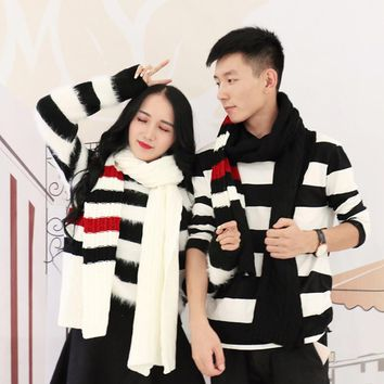 Lover Autumn Winter Scarf Ladies Men Fashion Striped Color Knitted Scarves Cute Rough Wool Luxury Scarf Couple Collar Shawls