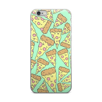 Pizza Collage Painting Lime Green iPhone 4 4s 5 5s 5C 6 6s 6 Plus 6s Plus 7 & 7 Plus Case