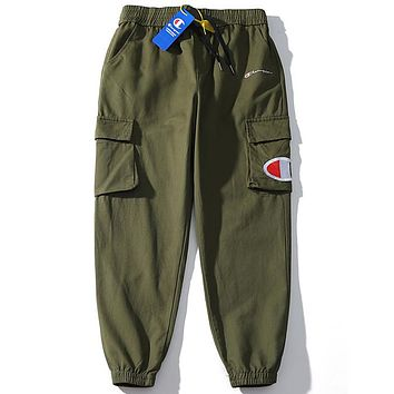 Champion tide brand men's and women's double pocket loose overalls green