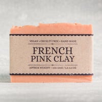 French Pink Clay Soap - Fragrance Free Soap, Handmade Natural Vegan Soap. For Dry, Sensitive or Mature Skin. Palm Oil Free.