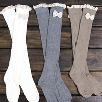 Boot Socks, Knee High Boot Socks, Long Boot Socks, Knit Boot Socks, Over the Knee, Gray Boot Socks, Womens Boot Socks, Ivory, Cozy, Winter