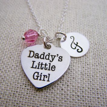 Daddys Little Girl Charm Swarovski Birthstone Initial Personalized Sterling Silver Necklace / Gift for Her - Daughter Necklace