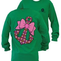 Southern Couture Preppy Classic Anchor Bow Girlie Green Long Sleeve Bright T Shirt