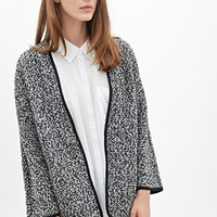 FOREVER 21 Boucle Knit Cardigan Black/White