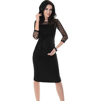 Maternity Maxi dresses Women Ruched Bodycon Pregnancy Dress With Polka Dot Lace D40+