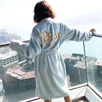 ONETOW Dior' Women Velvet Home Sleepwear Embroidery Letter Long Sleeve Middle Long Section Cardigan Nightgown Bathrobe Coat
