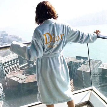 LMFON Dior' Women Velvet Home Sleepwear Embroidery Letter Long Sleeve Middle Long Section Cardigan Nightgown Bathrobe Coat